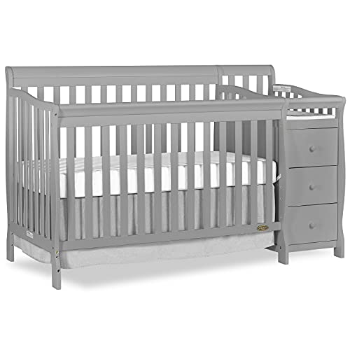 Dream On Me 5-in-1 Brody Convertible Crib with Changer in Pebble Grey, Greenguard Gold Certified