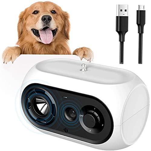 ultpeak Dispositivo antiladridos para Perros, Automática Ultrasónicos Ahuyentador de Perros, Tapón de Ladridos a Prueba de Ladridos Impermeable para Perros con 3 Niveles Ajustables