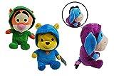 Unbekannt Juego de 3 muñecos de Felpa con Capucha Winnie Pooh de Disney - Winnie, Tigger y IA