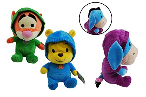 generisch Disney Winnie Pooh mit Kapuze - Plüsch 3er Set - Winnie, Tigger und IA
