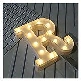 Letras Decorativas Madera 1 unids blanco plástico letra nocturna luz marqueste letrero alfabeto luces lámpara club casa al aire libre interior fiesta boda decoración del hogar Nombre Madera
