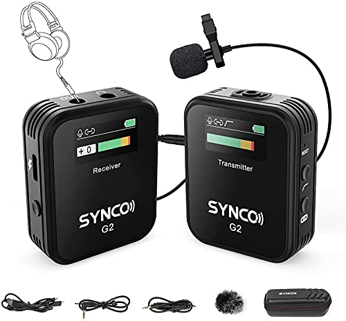 SYNCO G2(A1) Wireless Lavalier Microphone, 2.4G Lapel Clip Mic System for...