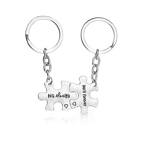 XYBAGS His Always Hers Forever Couples Keychain, 2PCS Romantic Key Chain Gifts for Boyfriend Girlfriend Couple