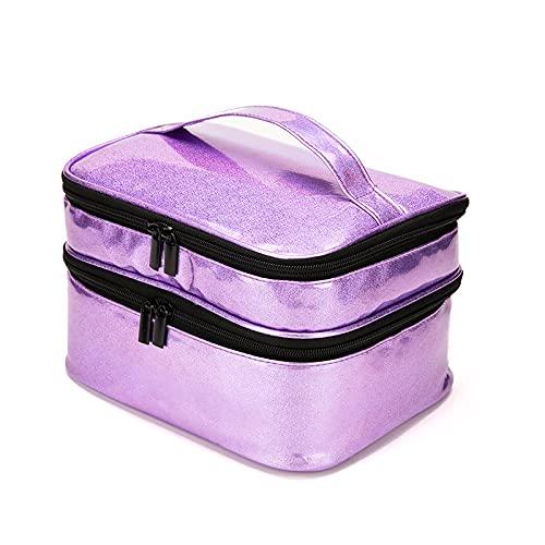 PortáTil Esmalte De UñAs Estuche De Transporte CosméTico Aceite Esencial Bolsa De Almacenamiento Capacidad 30 Botellas (15 Ml) Doble Capa Esmalte De UñAs Caja De Almacenaje-Purple A||25 * 22 * 15.5cm