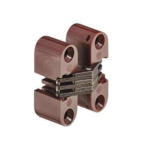 Gedotec Türband für Kasten-Tür Möbel-Scharnier unsichtbar Topfband montieren - H1964 | Stahl braun | 11x33mm | 180 ° | 1 Stück