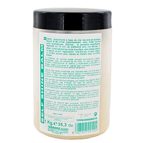 Tarrago | Selbstglänzender Balsam 1 kg | Selbstlösliche Salbe für natürliche und synthetische glatte Haut (schwarz 18)