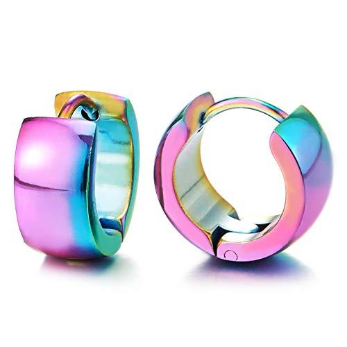 Arco iris Superficie Curva Pendientes del Aro, Pendientes para Hombres Mujer, Acero Inoxidable, Clásico