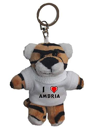 Plüsch Tiger Schlüsselhalter mit T-shirt mit Aufschrift Ich liebe Ambria (Vorname/Zuname/Spitzname)