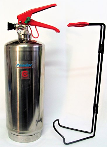 Extintor de polvo seco FSS UK Plus de 2 kg ABC con acabado cromado Con certificado CE. Ideal para hogares, cocinas, oficinas, coches, furgonetas, barcos, almacenes, garajes, hoteles, restaurantes