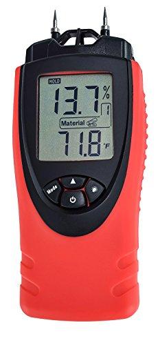 Medidor de humedad ennoLogic eH710T - 7 ajustes de materiales incl. Madera Cemento Mortero Ladrillo Cartón yeso Moqueta - Luz de fondo Hold Max Min y Temperatura del aire