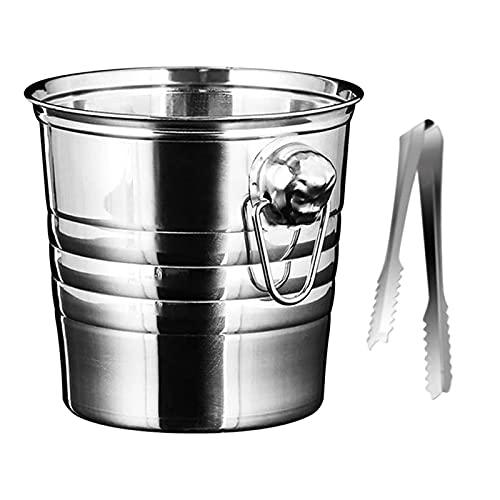 cubos de hielo para fiestas Cubo de hielo de acero inoxidable 3L Contenedor de soporte de hielo grueso para barra Champagne Champagne Wine Barrel Silver Home Hotel Bar Bucket Bares, fiestas, etc.