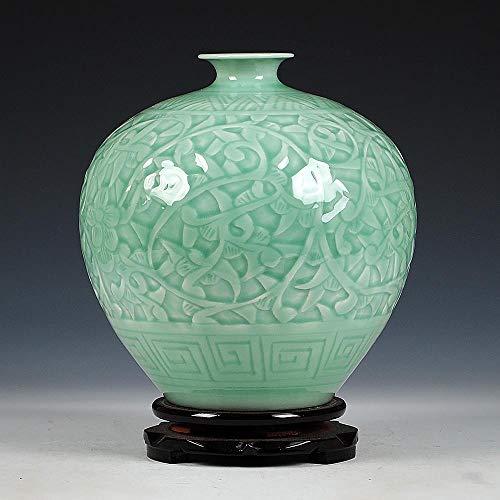 Ethan Antieke Jingdezhen Chinese Keramische Groene Graveren Jade Vaas Bruiloft Decoratiewit Porselein Bloem