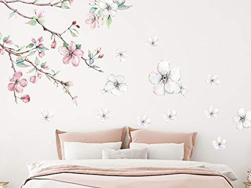 GRAZDesign Wandtattoo Blumen Kirschblüten Vintage - weiße Blüten Blumenmuster Tapete Schlafzimmer Wandaufkleber über Sofa Bett Kommode/Blattgröße 150x60cm