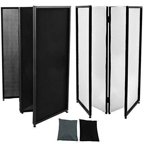 VEVOR Biombo Separado Pantalla Separada 4 Paneles, Toldo Separada y Aluminio Negro + Blanco Ligero Duradero