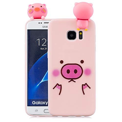 Yobby Hülle für Samsung Galaxy S7 Edge,3D Cartoon Süß Tiere Weich Silikon Gummi Rosa Handyhülle,Teenager Mädchen Kinder Jungs Cool Motiv Slim Gel Stoßfest Schutzhülle-Schwein Gesicht