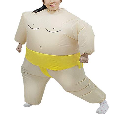 WANGIRL Aufblasbarer Anzug Aufblasbares Kostüm Sumo Ringer Fasching Karneval Halloween Cosplay Fancy Dress Party Outfit Neuheit Spielzeug für Erwachsene Kinder Kleider (Color : Yellow - M)