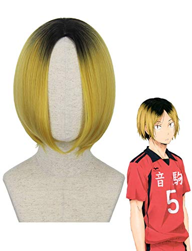 Mersi Ombre Blonde Wigs for Kozume Kenma Cosplay Costume Wig Short Hair Wigs for Haikyuu Anime Harajuku Lolita Cute Synthetic Wigs for Party Halloween S082M