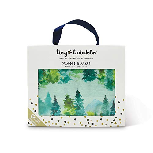Tiny Twinkle Kaffle Swaddle Blanket - Watercolor Forest - Soft and Silky Baby Blanket to wrap Newborns, Large 47 x 47 Size