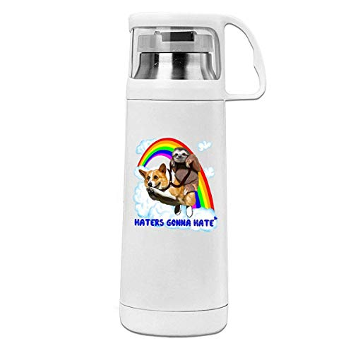 Bestqe Termo,Botella de agua,Tazas térmicas Sloths Ride Corgi Rainbow Insulated Stainless Steel Thermos Cup Portable Water Bottle with Handle Vacuum Tea Cup Travel Mug
