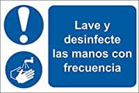 RS PRO 道路標識 Lava y desinfecta tus manos rutinariamen 2013341