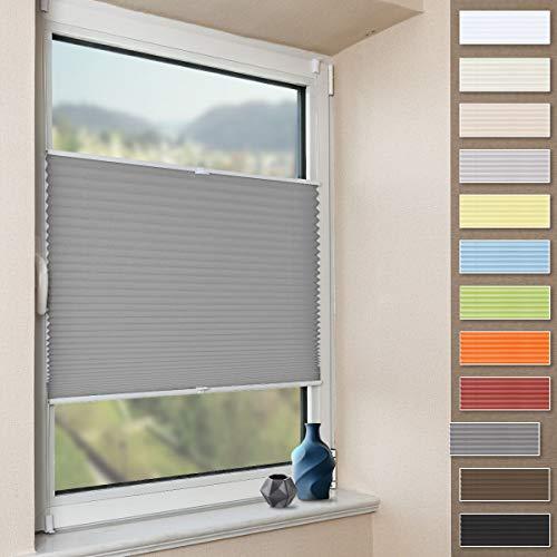 Plissee Klemmfix Faltrollo ohne Bohren Jalousie (Anthrazit, B35cm x H100cm) Plisseerollo Blickdicht Sichtschutz und Sonnenschutz für Fenster & Tür