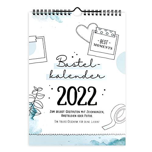 Bastelkalender Din A4 zum selbst gestalten 2022, Wandkalender zum Aufhängen, Jahreskalender mit Monatsübersicht, Fotokalender zum Basteln und Beschriften, tolles Geschenk