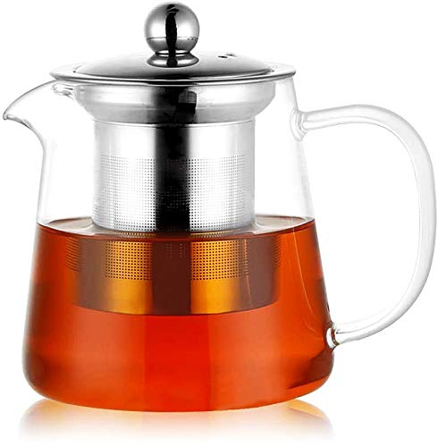 PluieSoleil Glass Teapot 450 ml Teapot for One with Heat Resistant Stainless Steel Infuser Perfect for Tea and Coffee (450ML)