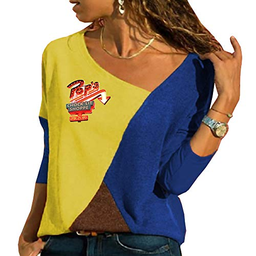 Mujer Camisetas de Manga Larga Riverdale Tshirt Patchwork Casuales Blusas Personalizadas Camisa Hipster Túnica Suelto Tops