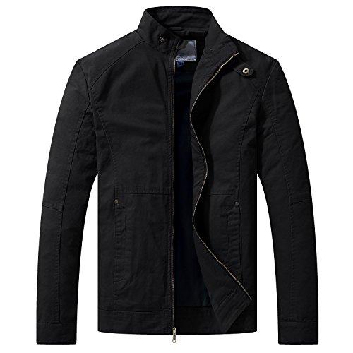 WenVen Giacca Stile Militare Giacca Tempo Libero Outddor Giaccone Taglia Forti Cappotto da Esterno Autunnale Uomo Nero L