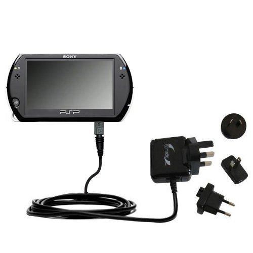 Caricabatterie avanzato 2A AC da muro internazionale compatibile con Sony PSP GO con la Tecnologia TipExchange per un uso Mondiale