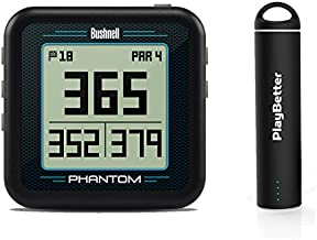 Bushnell Phantom (Black) Power Bundle with PlayBetter Portable USB Charger (2200mAh)   Handheld Golf GPS, Built-in Golf Cart Magnet, 35,000+ Pre-Loaded Courses, Compact & Lightweight