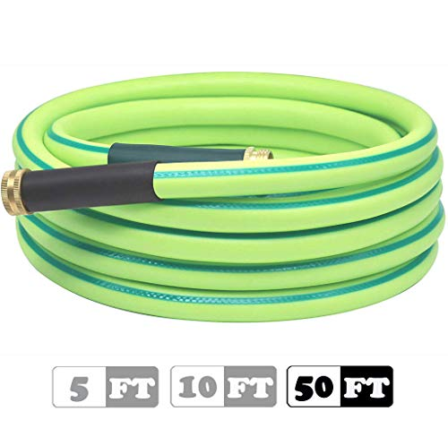 Atlantic Premium Heavy Duty Hybrid Garden Water Hose 5/8 Inch 50 FT Feet Brass Fittings Light Weight and Coils Easily, Kink Resistant,Abrasion Resistant, Extreme All Weather Flexibility