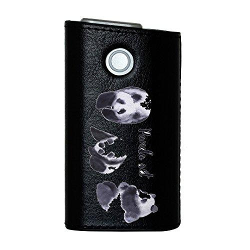 glo グロー グロウ 専用 レザーケース レザーカバー タバコ ケース カバー 合皮 ハードケース カバー 収納 デザイン 革 皮 BLACK ブラック パンダ 動物 かわいい 014786