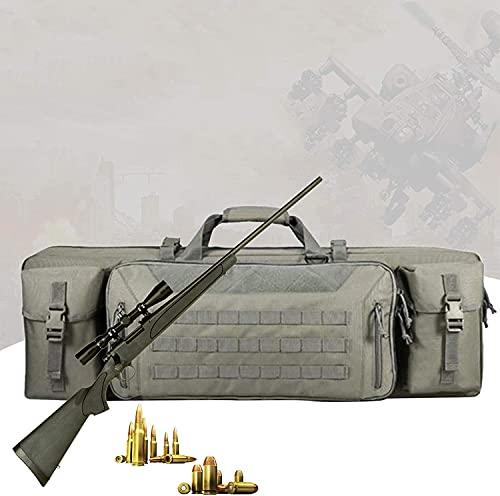 WSVULLD Bolsa de pistola táctica, caja de rifle doble con acolchado de espuma EVA de alta densidad, correa de mochila extraíble, bolsa de pistola al aire libre impermeable para la formación de