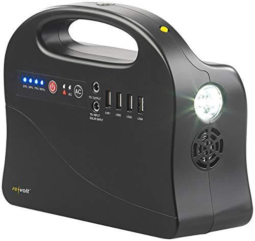 revolt Powerbank 230V: Powerbank & Solar-Konverter, 26,4 Ah / 97 Wh, 12/230 V, USB, 120 Watt (Powerbank mit 230V Steckdose)