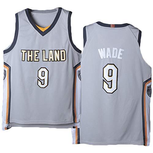 GLACX Ropa de Baloncesto para Hombre Cleveland Cavaliers 9# Wade Jerseys Bordados Retro, Chaleco sin Mangas con Malla Tops Deportivos,XL