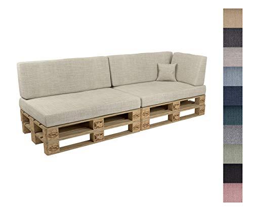 POKAR Euro Pallet Seating Set of 6: 2x seats 120x80cm + 2x back cushions 120x40cm+ 1x side cushion 60x40cm + 1x decorative pillow 40x40cm, cold foam, Garden Furniture, without pallets, beige