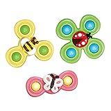 3 Stück Kinder Handspinner Mit Saugnapf Stressabbau Spielzeug, Baby Handspielzeug, Klassische Finger Spinner Für Kinder, Sensorisches Spielzeug, Kinder-Kreisel Für Kinder Und Spielzeug Für Erwachsene