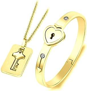 Couple Bracelet & Pendant Necklace, Lovers Heart Lock Bracelet and Lock Key Pendant for Men and Women, Gold Plated