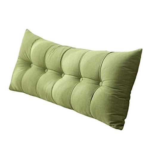 Bett Sofa große Kissen Leinen Sofa Erker Fenster Taille Kissen Lesekissen, eine Vielzahl von Größen Nacht große Rückenlehne, weicheren Stoffen (Color : Green, Size : 150×20×60cm)