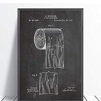 Muzimuziliトイレットペーパー特許Vinatgeポスターバスルームウォールアートプリント、トイレットペーパーロールの青写真キャンバス絵画トイレサインホームデコレーション-50X70Cm非フレーム