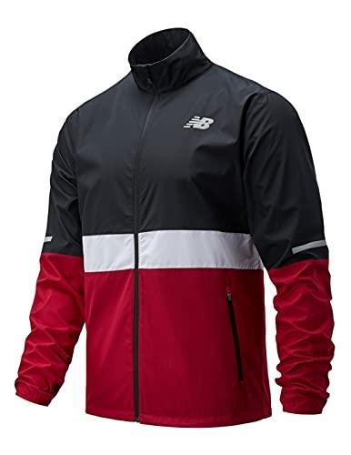 New Balance MJ03217 Accelerate Jacket, Chaqueta Deportiva para Hombre, Negro/Rojo/Blanco, XL
