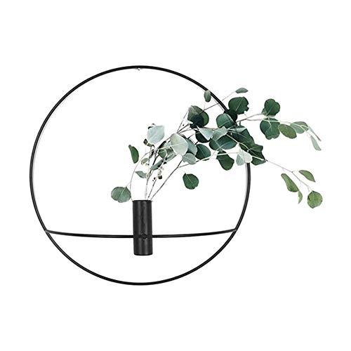 Giytoo 3D-Metall-Kerzenhalter zur Wandmontage, geometrisches Teelicht, Eisen, Schwarz, 29 cm