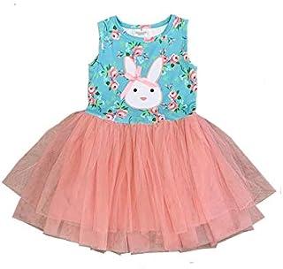 DELIMALI Infant Baby Girls Easter Dress, Toddlers Summer Bunny Printing Sleeveless Mesh Splicing Princess Dress