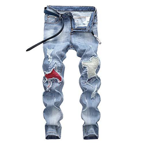 Pantalones de Hombre Jeans Color sólido Estiramiento Locomotora Agujero Roto Lavado Recto Resistencia Casual Pantalones