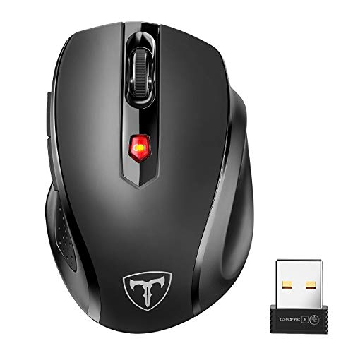 POLEYN Wireless Mouse USB for Laptop, Ergonomic Computer Mouse 2.4G and 5 Adjustable Levels, 6 Button Cordless Mouse Wireless Mice for Windows Mac PC Notebook