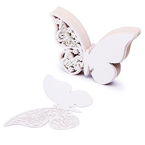 ZZM 50 Tarjetas con Forma de Mariposa para Escribir el Nombre de los comensales de una Boda, Colocar en Copas de Vino