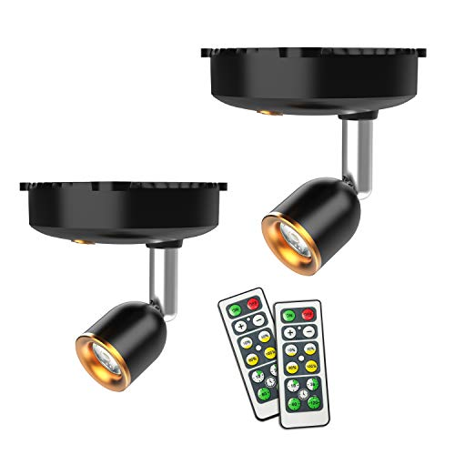 Wireless Spotlight, Led Picture Light, Accent Light, 2 Pack Shineled Battery Operated Spotlights Indoor with Rotatable Light Head for Paintings, Dartboard, Bedroom (Black+Sliver)