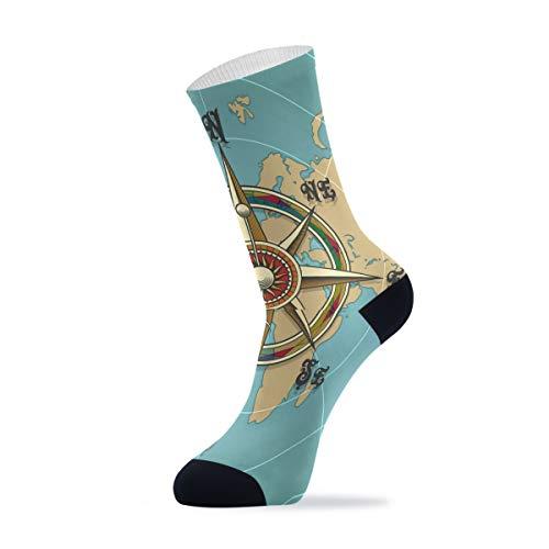Linomo Brújula náutica mapamundi para deportes al aire libre casual Crew calcetines tobillos altos calcetines de vestir para hombres y mujeres 1 paquete, Hombre, multicolor