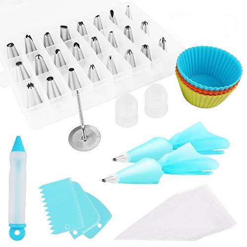 Kits de decoración de tartas 49 piezas Boquillas para manga pastelera Boquillas de Acero Inoxidable Bolsa de Silicona y Accesorios para Hornear